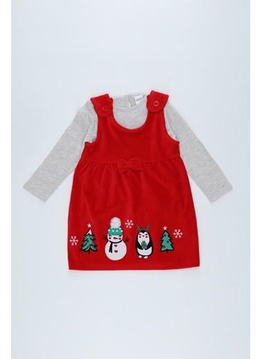 DeFacto Kız Bebek Yılbaşı Temalı Kadife Elbise ve Tişört Takım Kırmızı